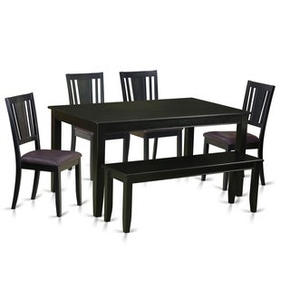 DULE6-BLK 6 Pc Kitchen Table- Table and 4 Kitchen Chairs and Bench