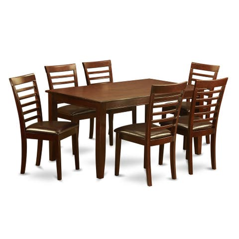 DUML7-MAH 7 PC Dining room set-Dining Table with 6 matching Chairs