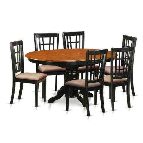 KENI7-BCH 7 PC Kitchen Table set-Dining Table and 6 Wooden Chairs