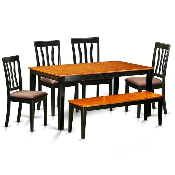 NIAN6-BCH 6 PC Kitchen set- Table and 4 Chairs plus a Bench