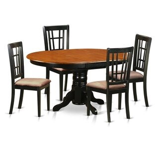 KENI5-BCH  5 PC Kitchen Table set-Dining Table with 4 Wood  Chairs