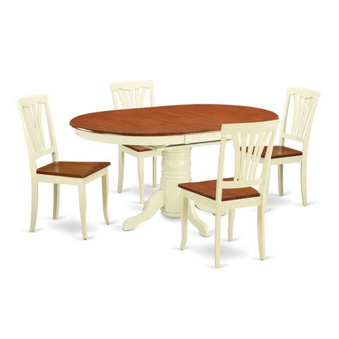 AVON-WHI-W 5 Pc Dinette Table with Leaf and 4 Wood Seat Chairs