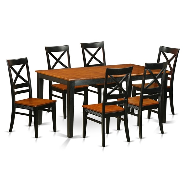 East West Nicoli 6 Piece Dining Set: Shop NIQU7-W 7 PC Set-Dining Table And 6 Dining Chairs