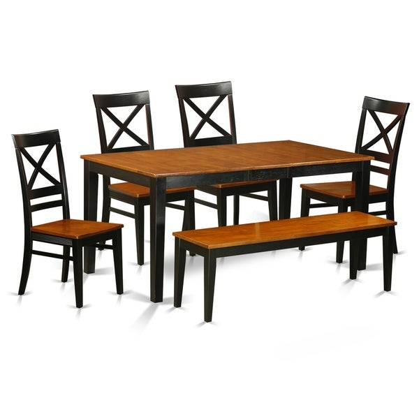 East West Nicoli 6 Piece Dining Set: Shop NIQU6-W 6 PC Dining Set With Bench-Kitchen And 4