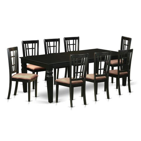 LGNI9-BLK 9 Pc Dining Room set with a Table and 8 Dining Chairs