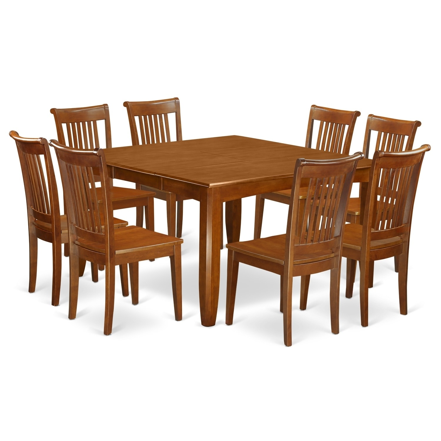 PFPO9 SBR 9 Pc Dining Room Set Table With Leaf And 8 Kitchen Chairs.