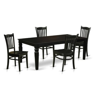 LGG5-BLK-W  5 Pc Dining Room set with a Table and 4 Kitchen Chairs