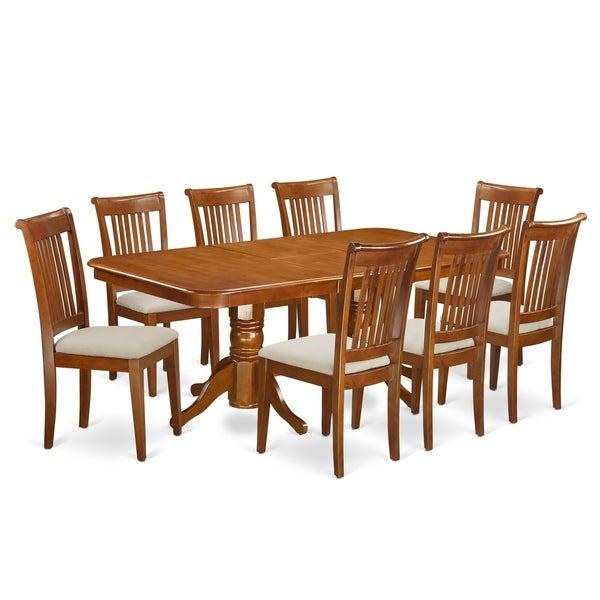 9 Piece Dining Table Set For 8 Dining Room Table With 8: Shop NAPO9-SBR 9 Pc Dining Room Set Table And 8 Chairs For