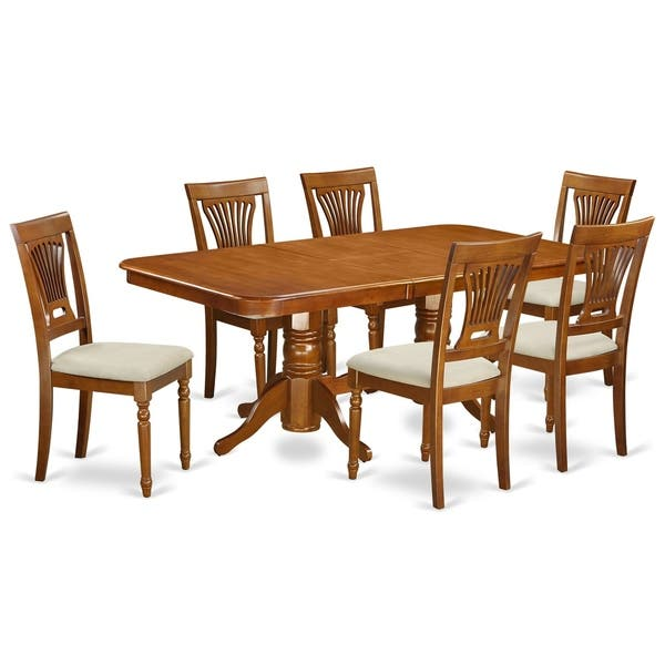 NAPL7-SBR 7 Pc Dining room set-Dining Table and 6 Dining Chairs