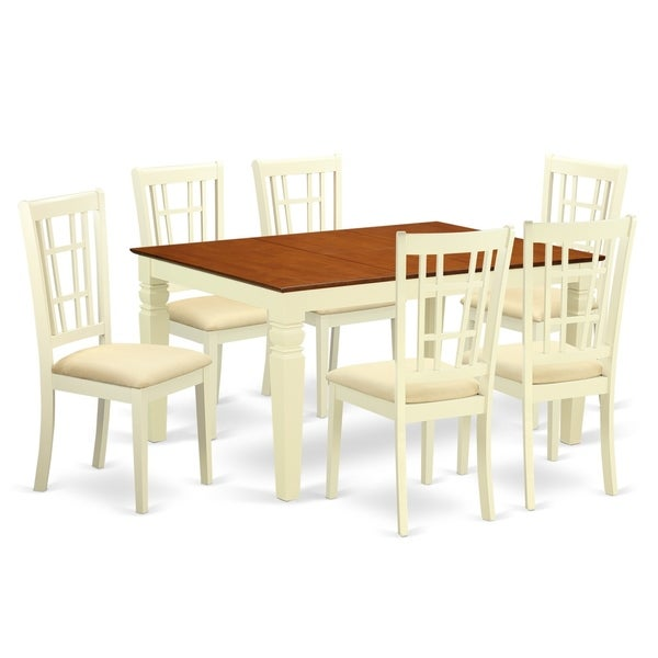 Kitchen Table With 6 Chairs: Shop WENI7-BMK 7 Pc Kitchen Table Set With A Dining Table