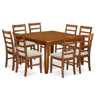 PARF9-SBR  9 Pc formal Dining  set Square Table and 8 Dining Chairs