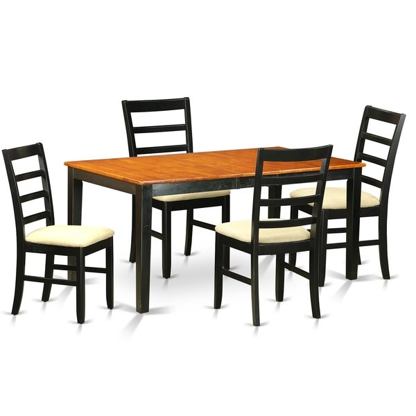 NIPF5-BCH 5 Pc Dining room set-Table with Leaf and 4 Dining Chairs. Opens flyout.
