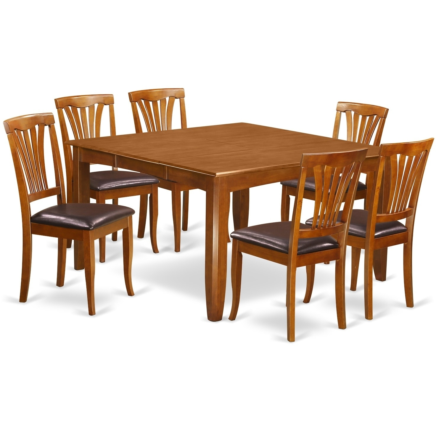 PFAV7-SBR 7 PC Dining set-Dinette Table with Leaf and 6 C...