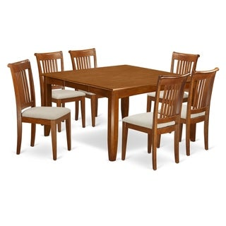 Link to PFPO7-SBR  7 Pc Dining set-Square Table and 6 Dining Chairs Similar Items in Dining Room & Bar Furniture