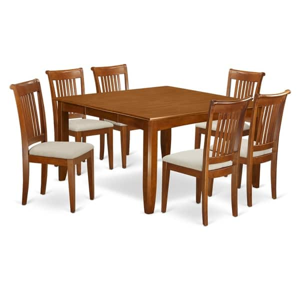 Shop Pfpo7 Sbr 7 Pc Dining Set Square Table And 6 Dining Chairs Overstock 17676477