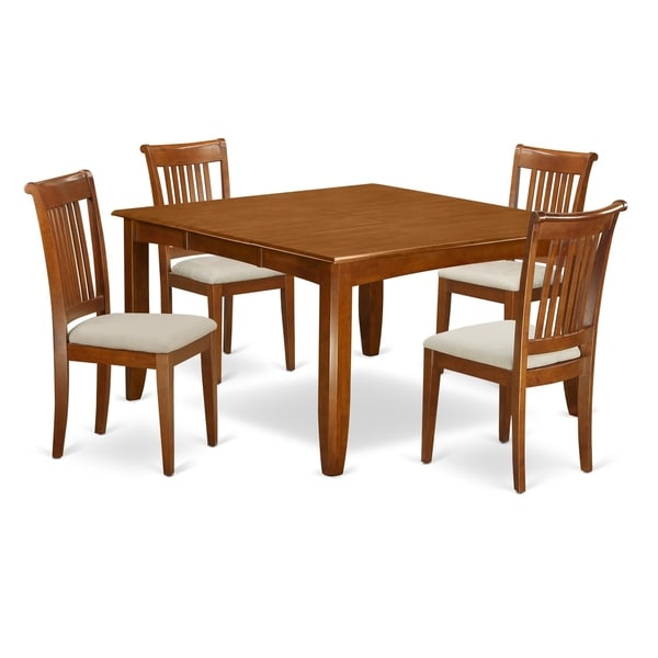 square dining room table for 4 | Shop PFPO5-SBR 5 Pc Dining room set for 4-Square Table and ...