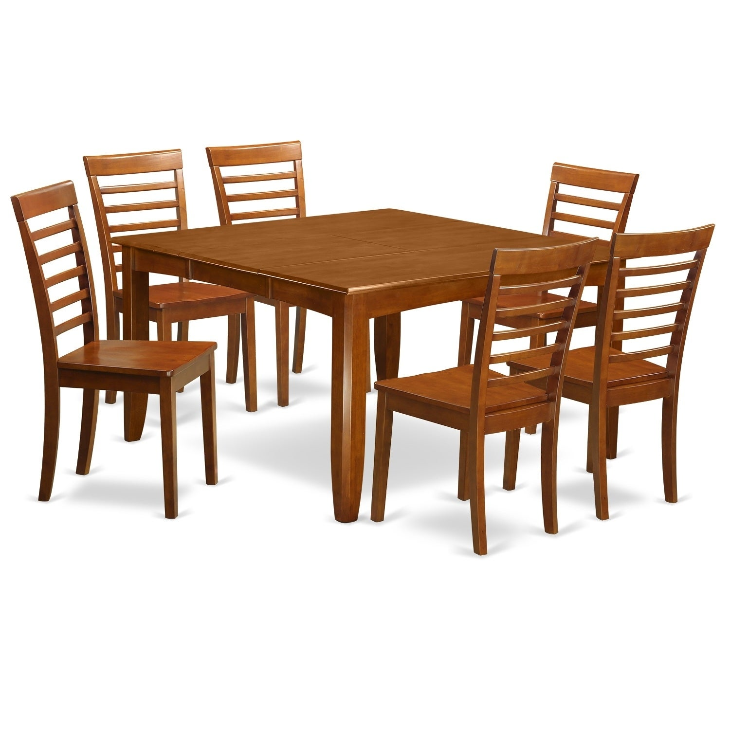 PFML7 SBR 7 PC Dining Room Set Table With Leaf And 6 Dinette Chairs