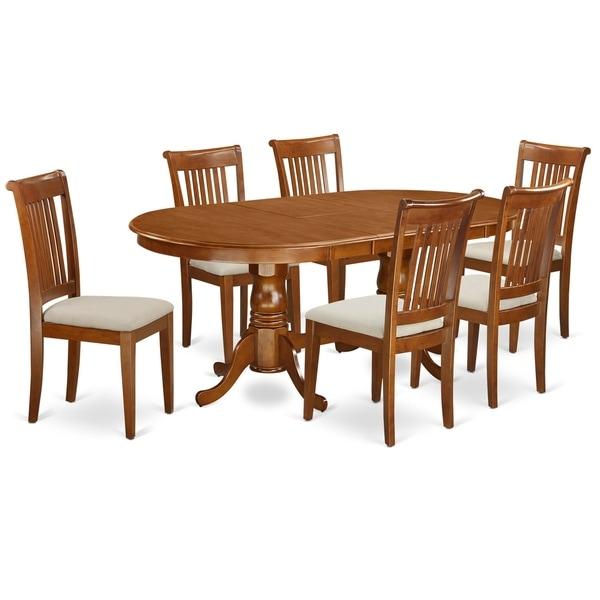 Shop PLPO7-SBR 7 Pc Formal Dining Room Set-Dining Table
