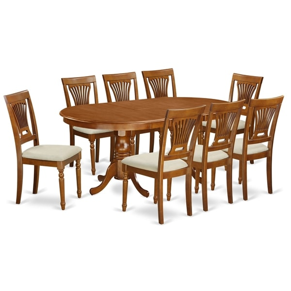 Shop PLAI9-SBR 9 PC Dining Set-Dining Table And 8 Chairs