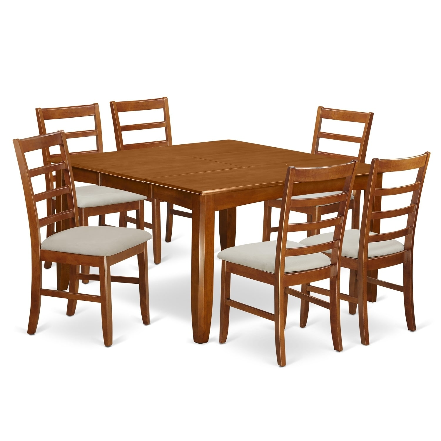PARF7-SBR 7 Pc Dining set-Square Table and 6 Chairs. (Mic...