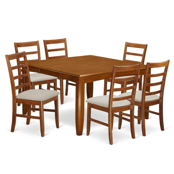 Shop Parf7 Sbr 7 Pc Dining Set Square Table And 6 Chairs