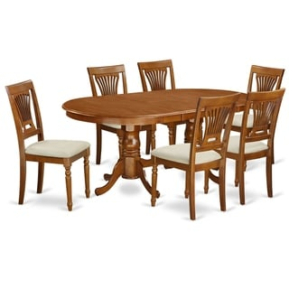 PLAI7-SBR  7 PC Dining  set for 6-Dining Table with 6 Dining Chairs