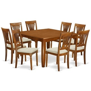 PFPL9-SBR 9 Pc Dining set-Table with Leaf and 8 Kitchen Chairs.