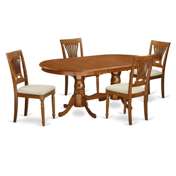 Modern 5pc Dining Table Set Kitchen Dinette Chairs: Shop PLAI5-SBR 5 PC Dining Set-Dining Table Plus 4 Kitchen
