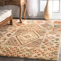 nuLOOM Southwestern Tribal Abstract Diamonds Gabbeh Beige Rug (8' x 10')