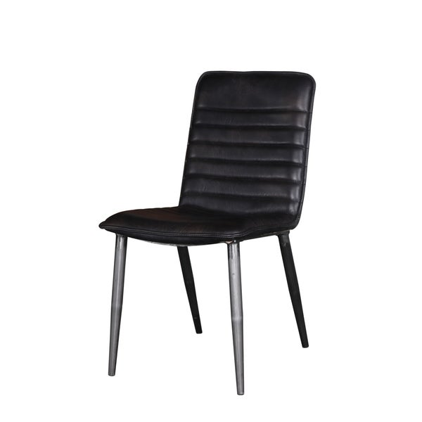 Acme Hosmer Black Top Grain Leather Dining Chair Set Of 2 N A