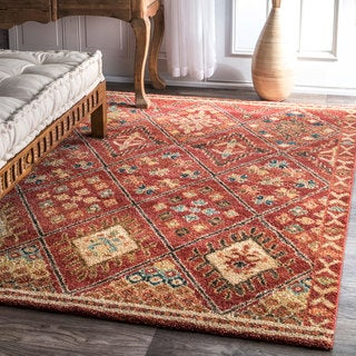 nuLOOM Southwestern Tribal Diamonds Trellis Border Rust Rug (8' x 10')