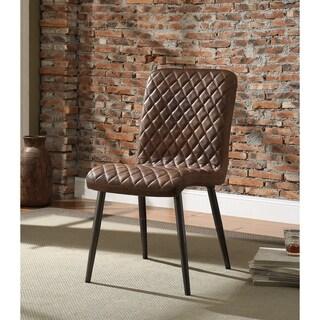 Hosmer Vintage Chocolate Top Grain Leather Side Chair, Set of 2