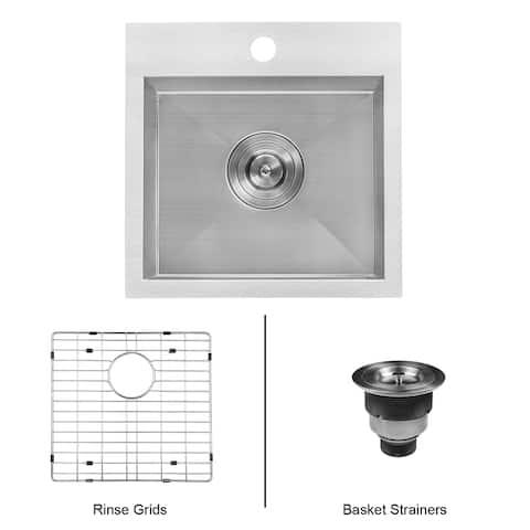 "Ruvati 15 x 15 inch Drop-in Topmount Bar Prep Sink 16 Gauge Stainless Steel Single Bowl - RVH8115 - 15"" X 15"""