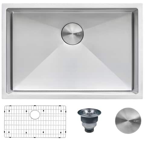 "Ruvati 28-inch Undermount 16 Gauge Tight Radius Stainless Steel Kitchen Sink Single Bowl - RVH7250 - 28"" x 19"""