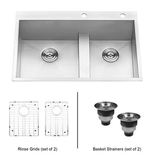 Ruvati 33-inch Drop-in Low Platform-Divide Zero Radius 60/40 Double Bowl 16 Gauge Topmount Kitchen Sink - RVH8059