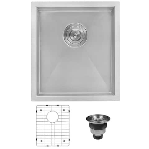 "Ruvati 16-inch Undermount 16 Gauge Zero Radius Bar Prep Sink Stainless Steel Single Bowl - RVH7111 - 16"" x 18"""