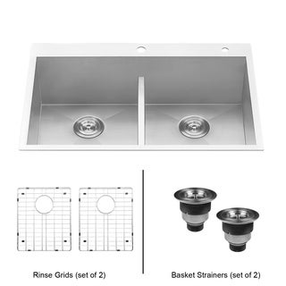 "Ruvati RVH8055 Drop-in Low-Divide 33"" Kitchen Sink 16 Gauge Topmount Double Bowl"