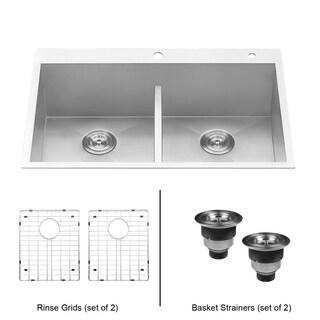 Ruvati 33-inch Drop-in Low-Divide Zero Radius 50/50 Double Bowl 16 Gauge Topmount Kitchen Sink - RVH8055