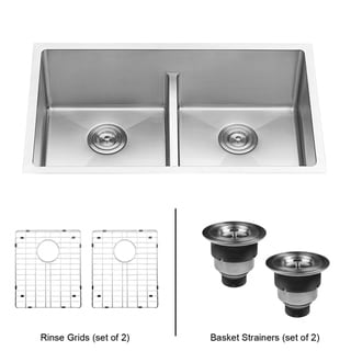 Link to Ruvati 32-inch Low-Divide Undermount Tight Radius 50/50 Double Bowl 16 Gauge Stainless Steel Kitchen Sink - RVH7411 Similar Items in Sinks
