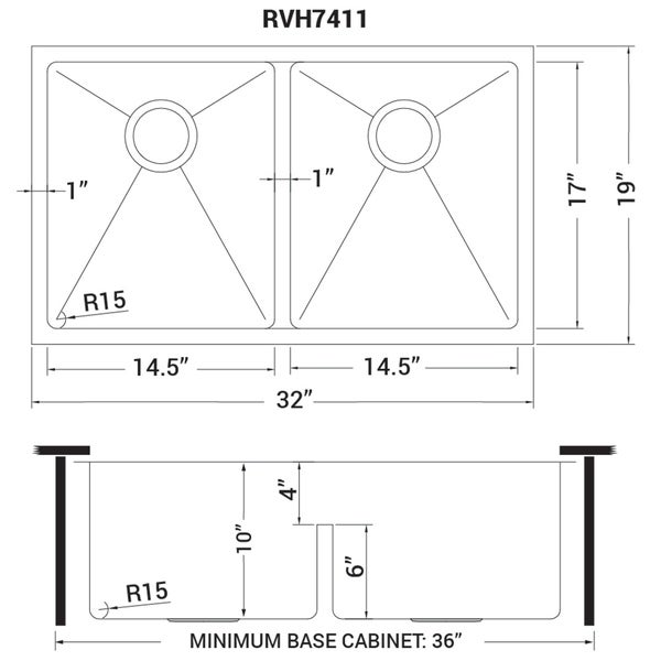 RVH7255 Ruvati 28-inch Low-Divide Undermount Tight Radius 60//40 Double Bowl 16 Gauge Stainless Steel Kitchen Sink