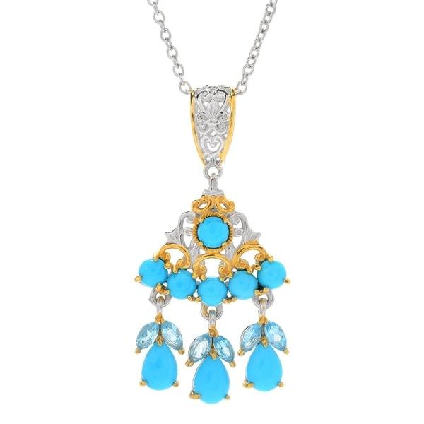 Michael Valitutti Palladium Silver Sleeping Beauty Turquoise & Swiss Blue Topaz Pendant