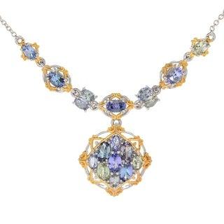 Michael Valitutti Palladium Silver Zoisite & Tanzanite Cluster Necklace - Blue
