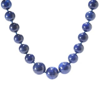 Michael Valitutti Palladium Silver Lapis Lazuli Graduated Bead Toggle Necklace - Blue