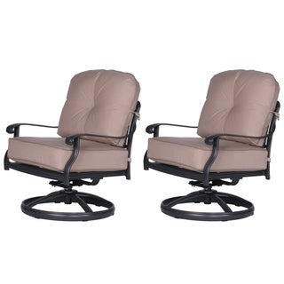 Gracewood Hollow Budi Club Black Aluminum Swivel Chairs with Beige Sunbrella Cushions (Set of 2)