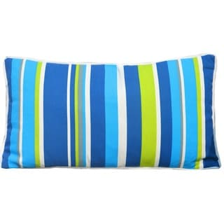 Blue Green Striped 12 x 21 inch Indoor/ Outdoor Lumbar Pillows