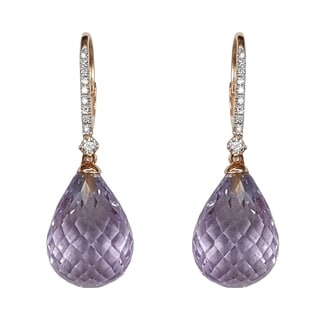 Kabella 14k Gold Briolette Pink or Green Amethyst Diamond Leverback Earring - Purple