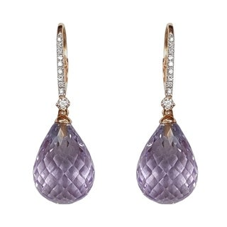 Kabella 14k Gold Briolette Pink or Green Amethyst Diamond Leverback Earring - Purple