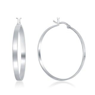 "La Preciosa Sterling Silver Italian High Polished ""Silver - Rose Gold- Gold"" 4MM X 40MM Hoop Earring"