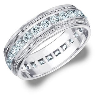 amore 10k white gold mens 20 ct tdw diamond eternity milgrain band - Mens Wedding Rings With Diamonds