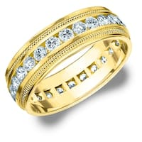 Amore 14K Yellow Gold Men's 2.0 CT TDW Diamond Eternity Milgrain Band - White